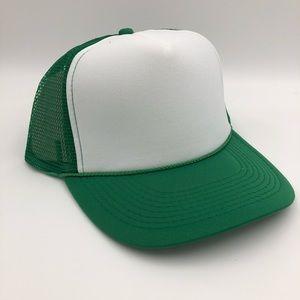White & Green Mesh & Foam Trucker Baseball Cap Hat